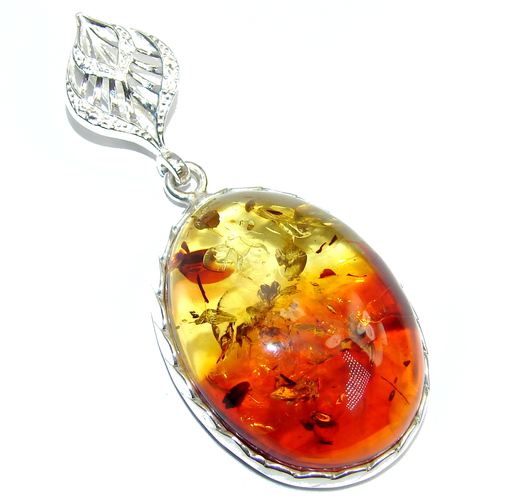 Big Genuine AAA Baltic Polish Amber  Sterling Silver Pendant