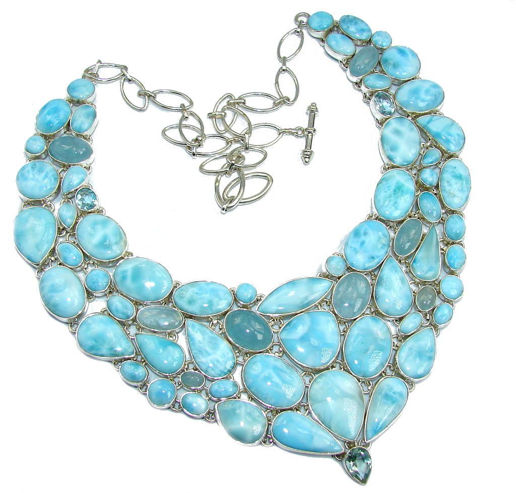 Huge Caribbean Style  AAA Blue Larimar & Aquamarine Sterling Silver necklace