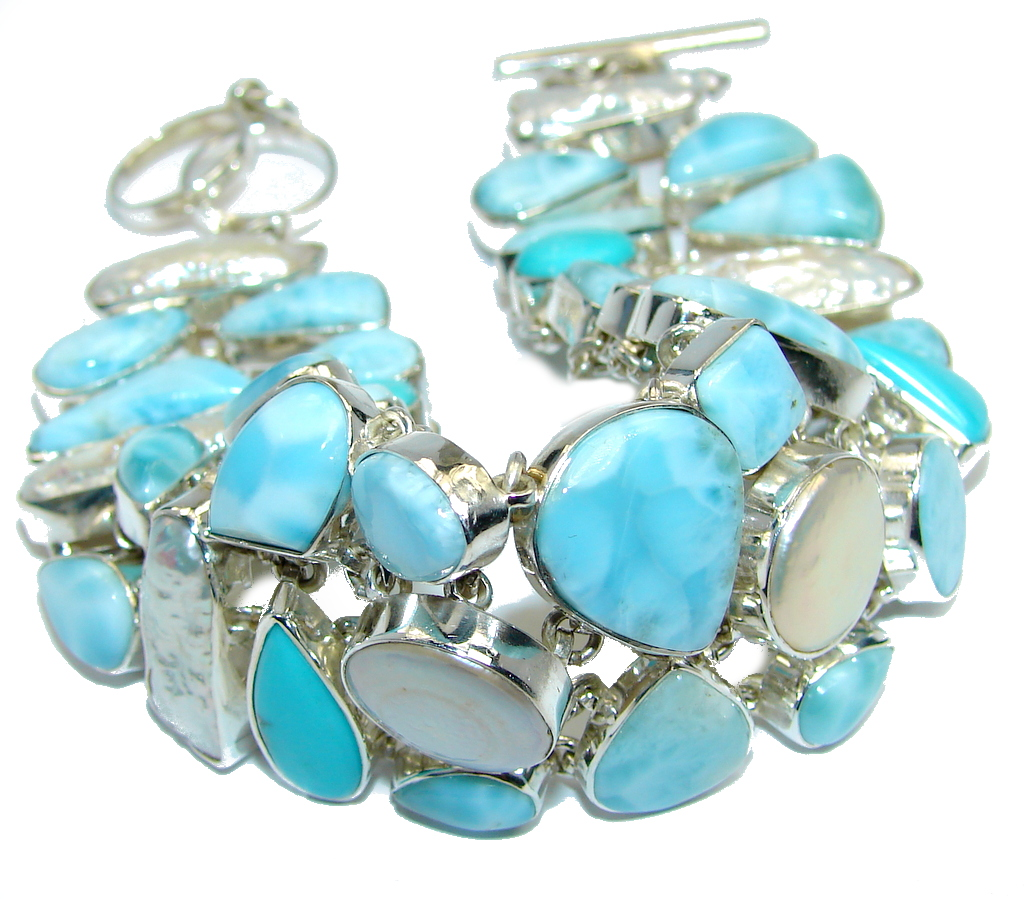 Ocean Beauty AAA Blue Larimar & Mother of Pearl Sterling Silver Bracelet