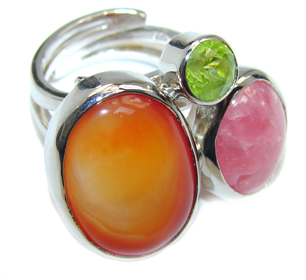 Big! Deep Secret AAA Carnelian Sterling Silver Ring size adjustable