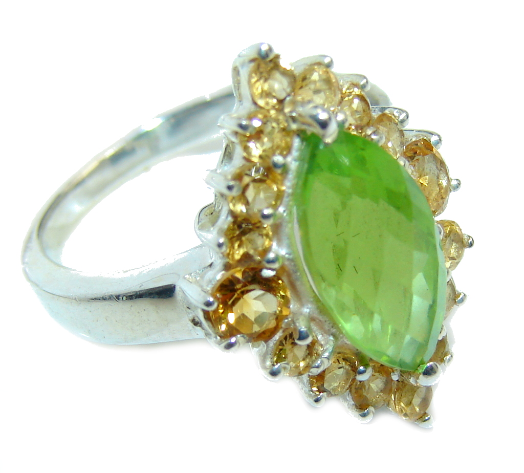 Fabulous Green Peridot Citrine Sterling Silver Ring s. 7