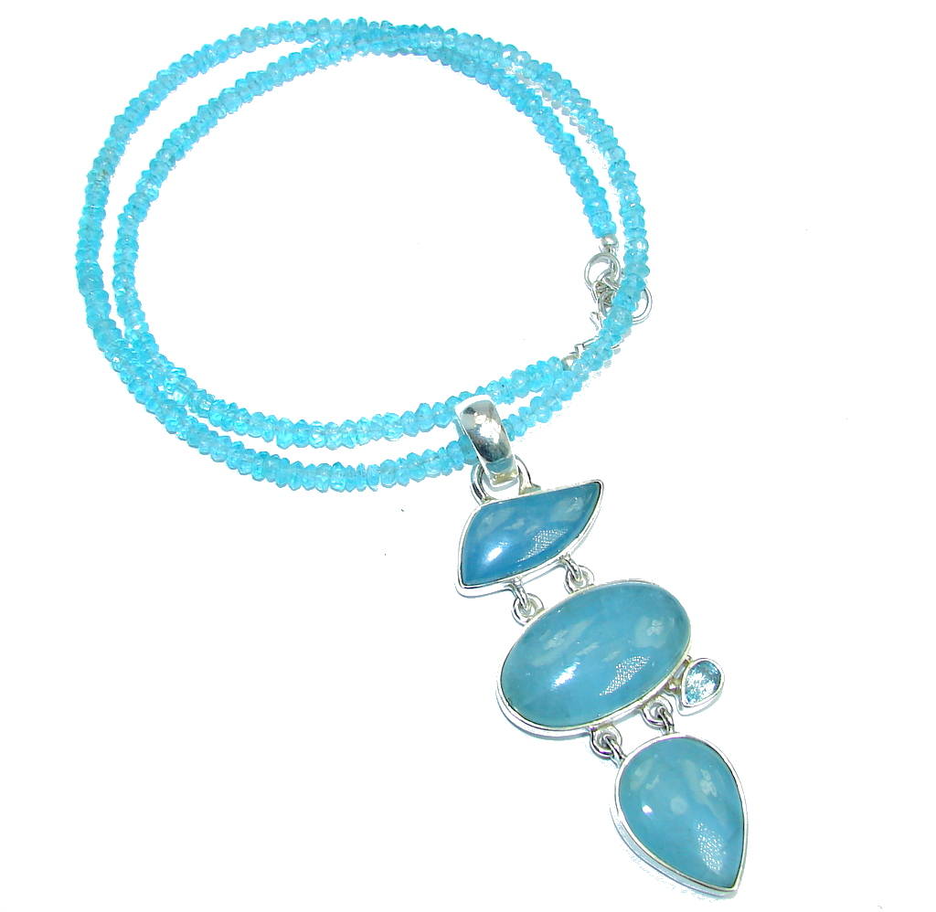 Secret Beauty Blue Aquamarine & Blue Topaz Sterling Silver necklace