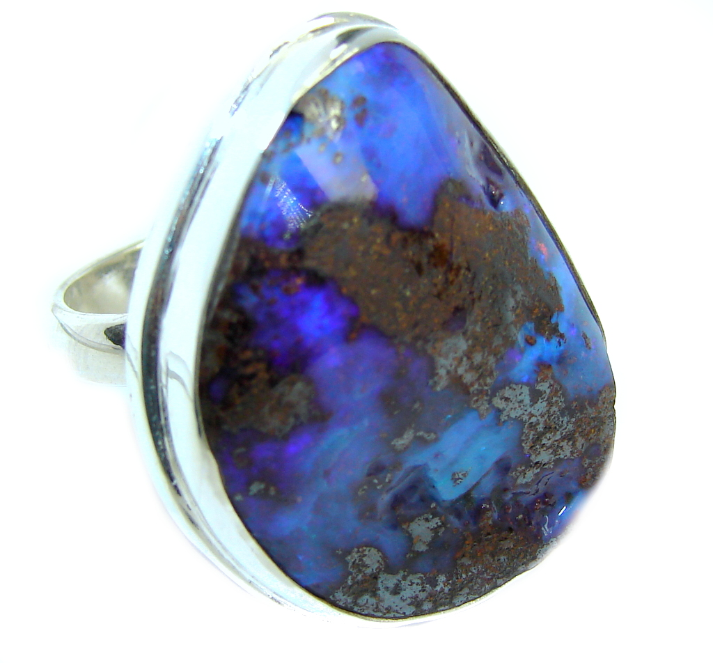 Amazing  Australian Boulder Opal Sterling Silver Ring size adjustable