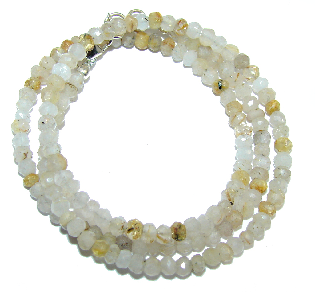 Amazing Genuine Golden Rutilated Quartz Sterling Silver Necklace