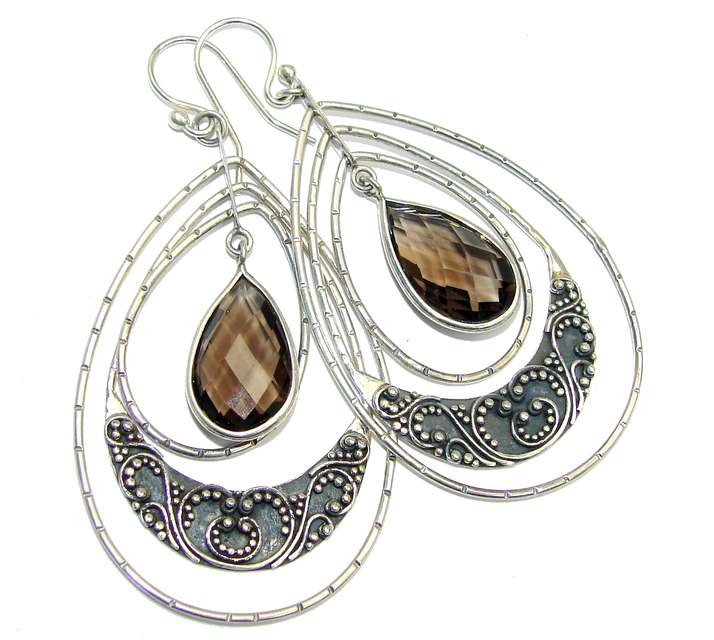 Big Indonesian Style Smoky Topaz  Oxidized Sterling Silver earrings