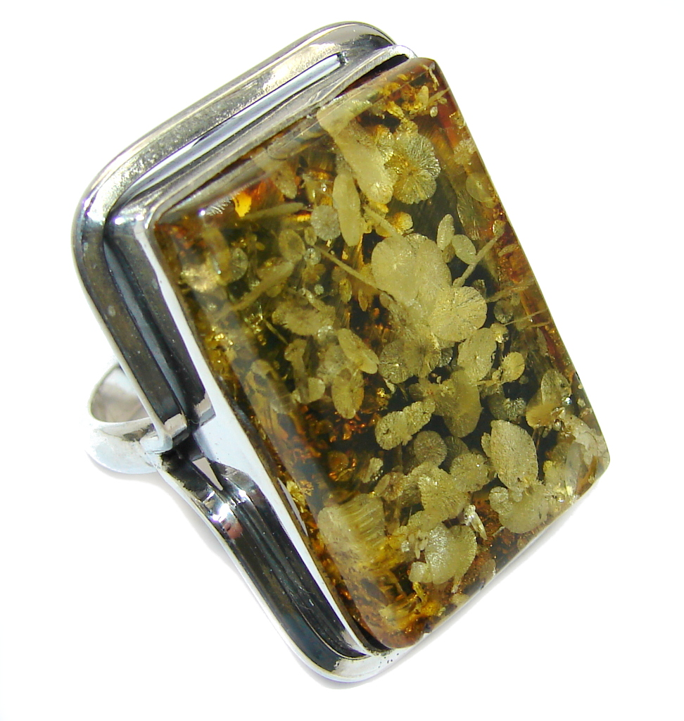 Amazing Rare faceted Balitc Amber Sterling Silver Ring size 9