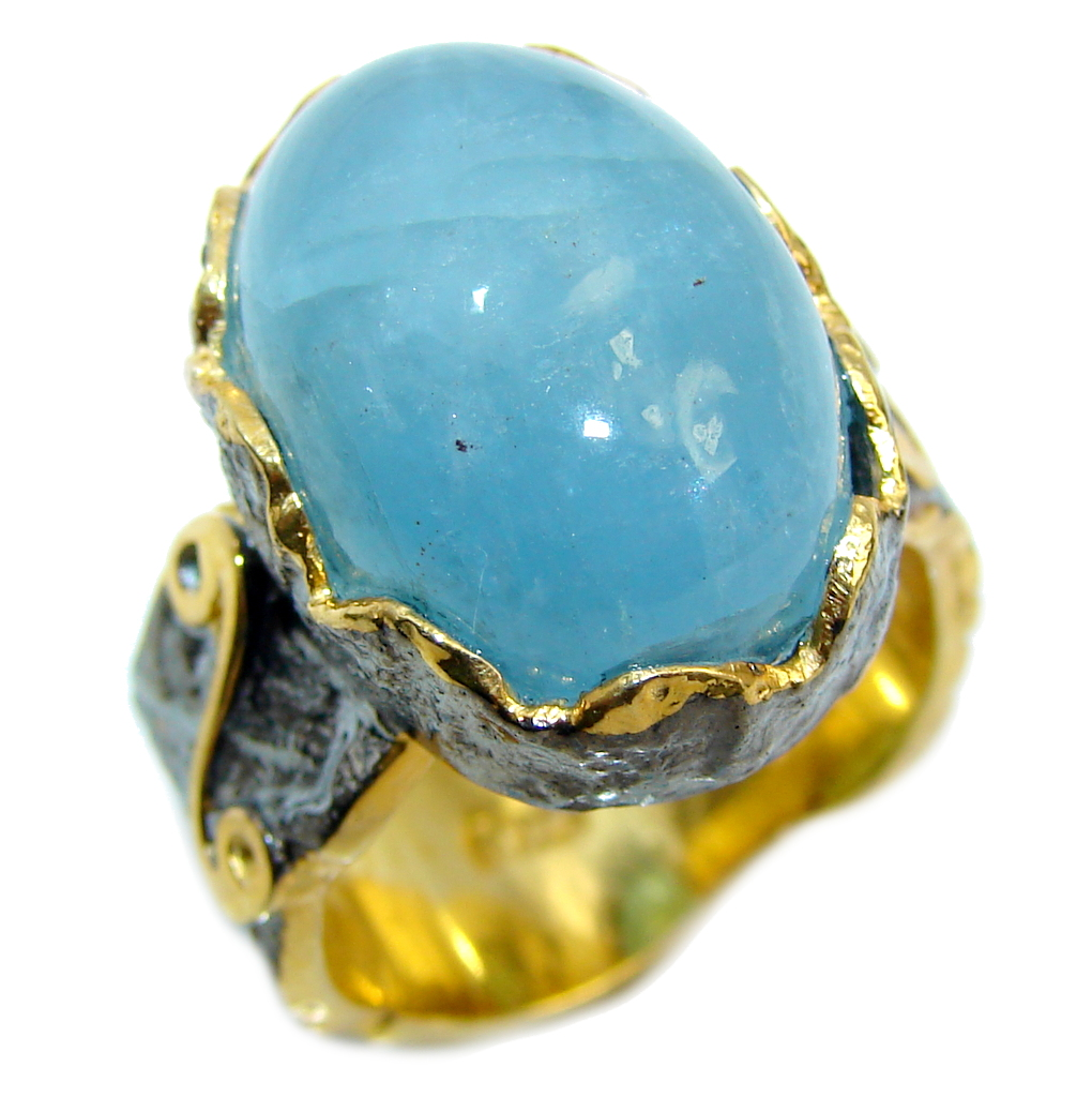Passiom Fruit Aquamarine Gold Plated, Rhodium Plated Sterling Silver Ring s. 7 3/4