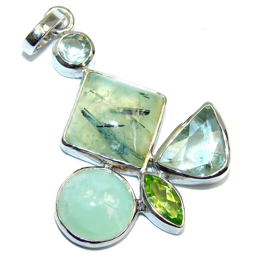 Green Land  Moss Prehnite Sterling Silver Pendant