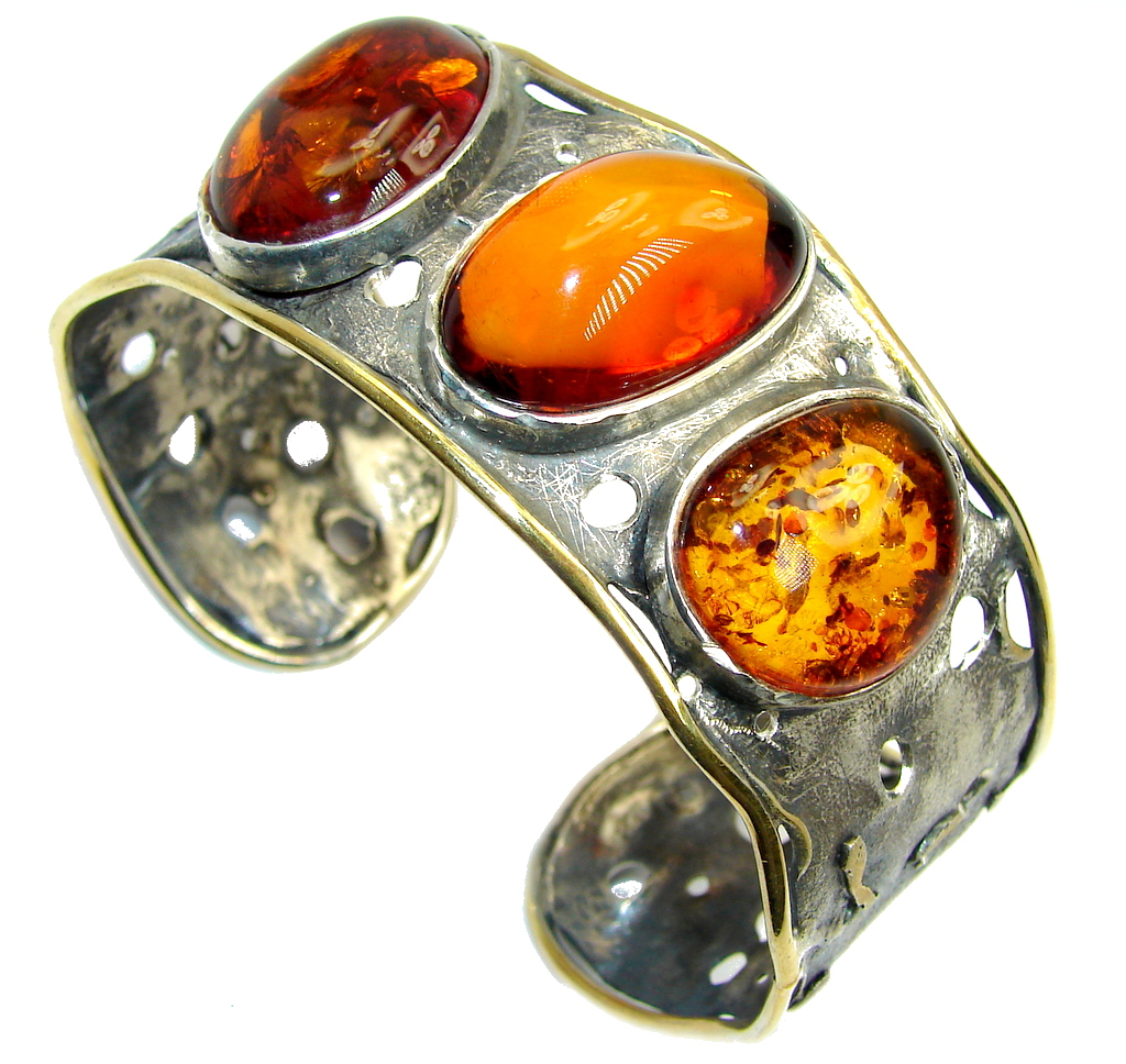 Beautiful Genuine Handcrafted Polish Amber Two Tones Sterling Silver Bracelet / Cuff