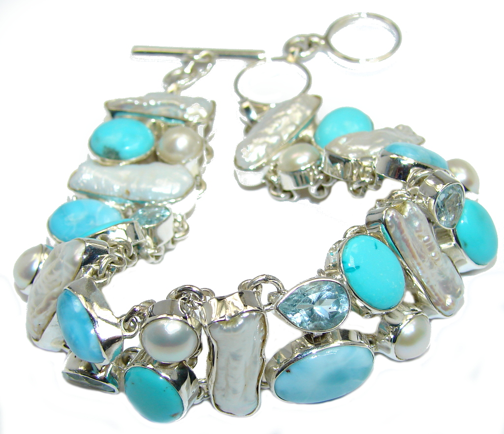 AAA Blue Larimar  & Swiss Blue Topaz Sleeping Beauty Turquoise Sterling Silver Bracelet