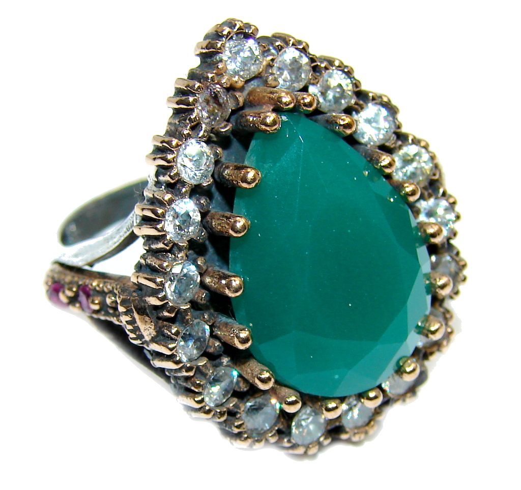 Victorian Style created Emerald & White Topaz Sterling Silver ring; s. 9 1/2