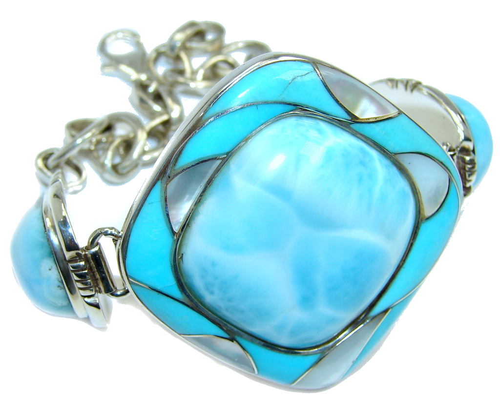 Genuine AAA Blue Larimar & Inlay Blister Pearl Turquoise Sterling Silver Bracelet