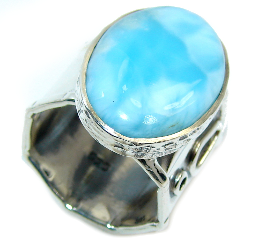 Amazing AAA quality Blue Larimar Oxidized Sterling Silver Ring size adjustable