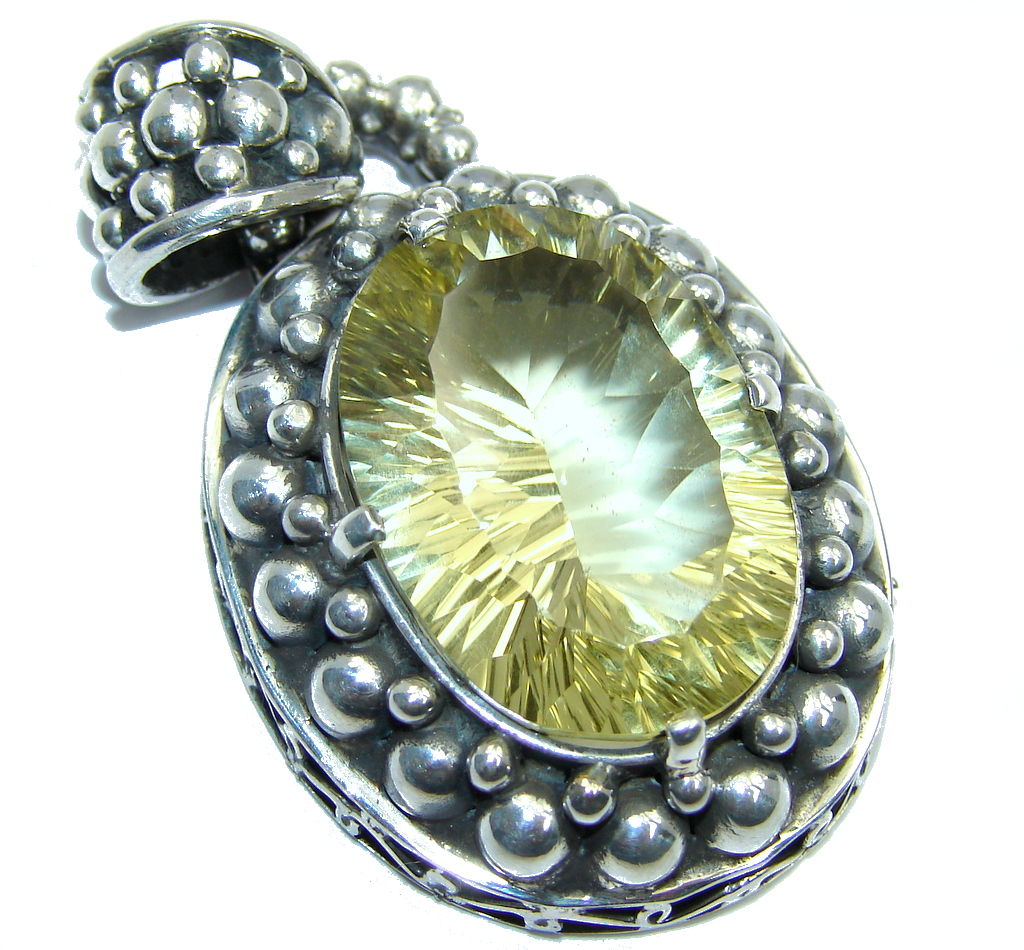 Large Amazing Yellow Magic Topaz Sterling Silver Bali made Pendant
