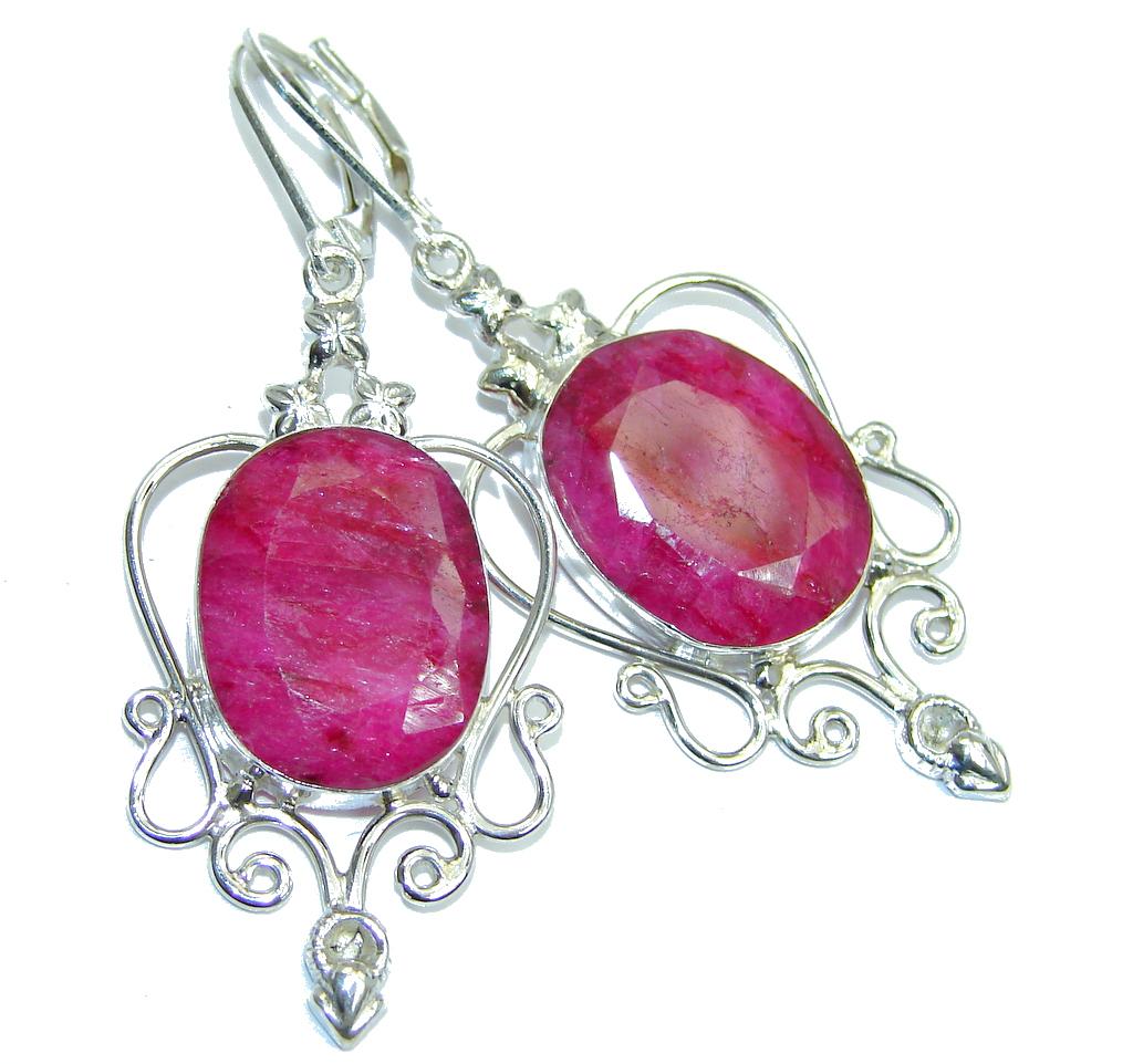 Big Vintage Style Ruby Sterling Silver earrings