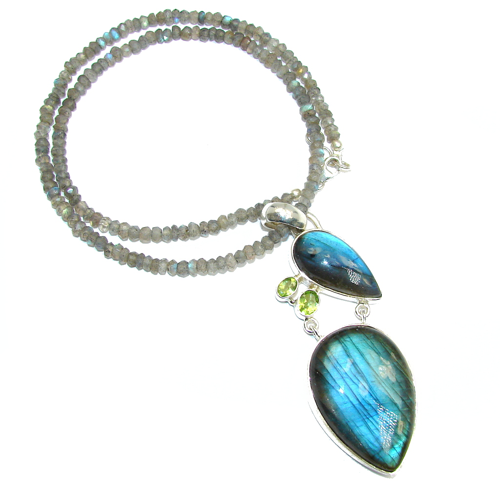 Bali Dream AAA Shimmering Labradorite  Peridot Sterling Silver necklace