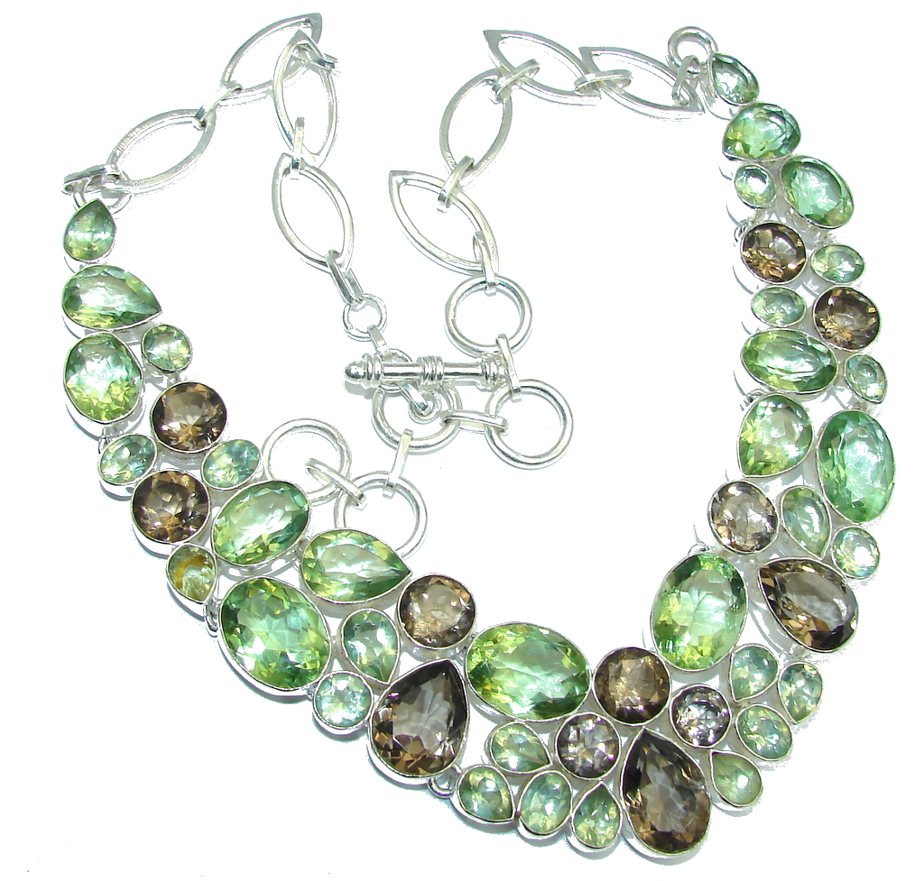 Great Impression created Green Amethyst Sterling Silver necklace