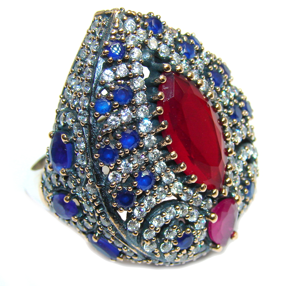 Giant Victorian Style created Ruby & White Topaz Sterling Silver ring; s. 9