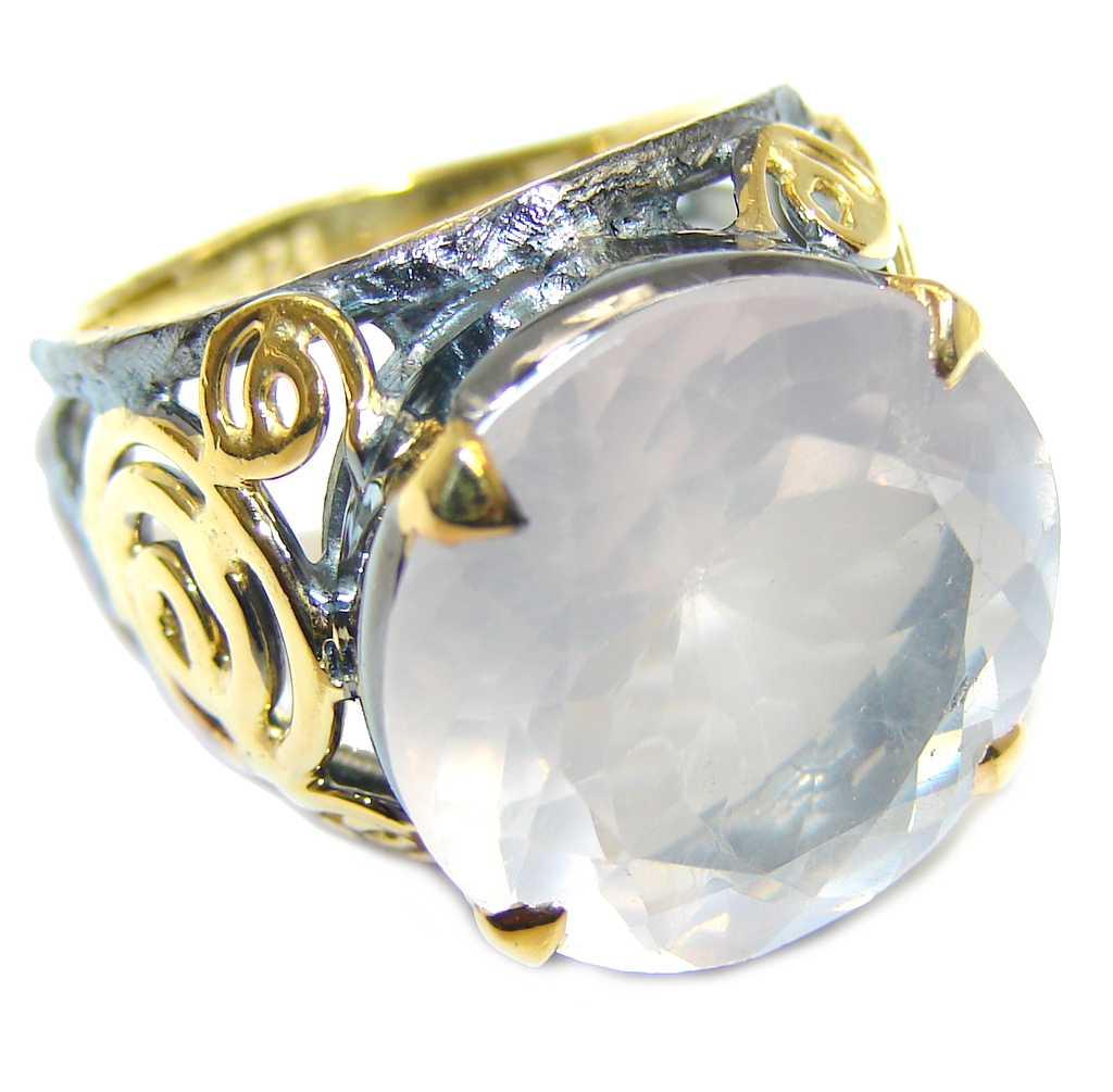 Beautiful AAA Rose Quartz  Gold Rhodium Plated over Sterling Silver Ring s. 6