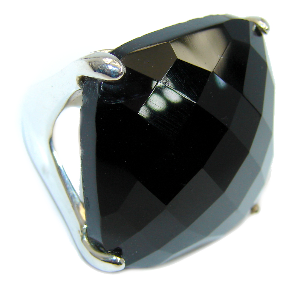 Amazing Bali Made AAA Black Onyx Sterling Silver ring s. 8