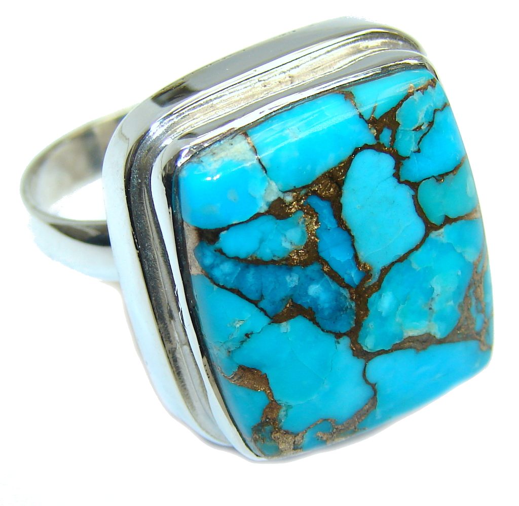 Amazing AAA Genuine Copper vains in Turquoise Sterling Silver ring s. 8 1/2