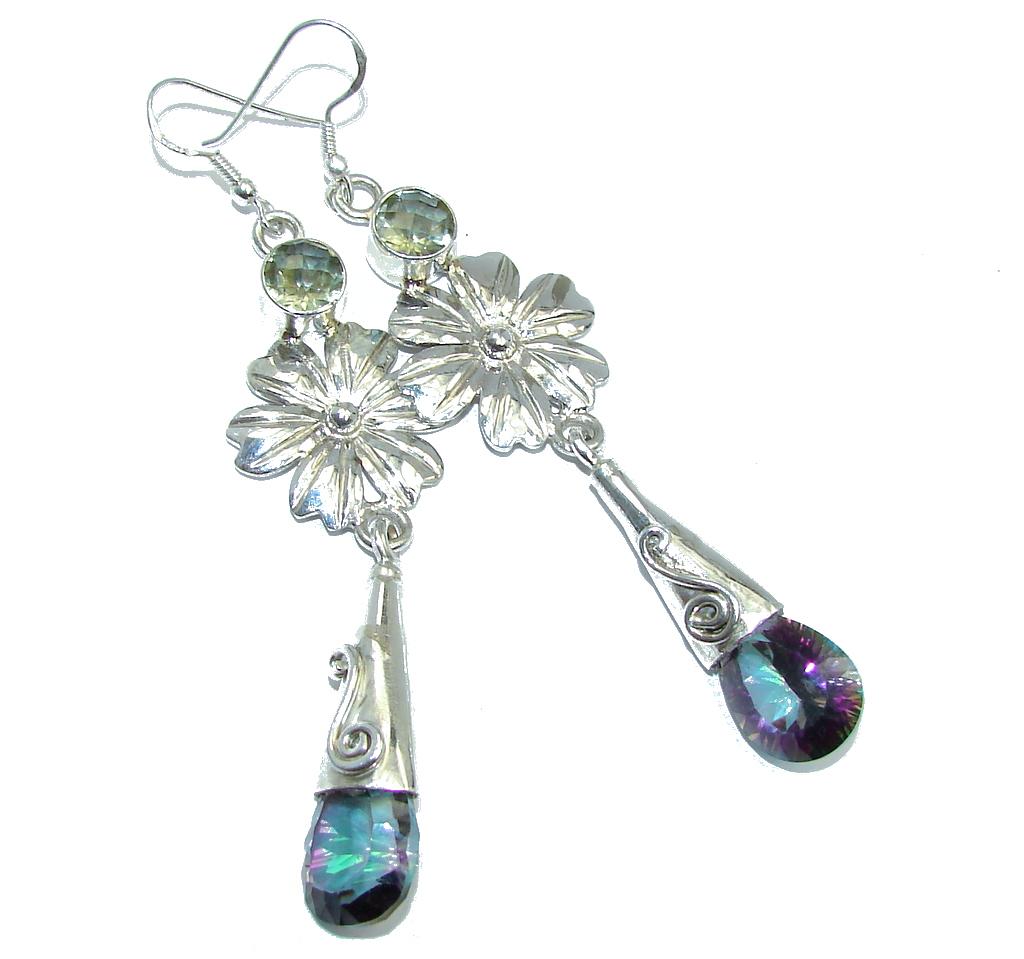 Long! Rainbow Magic Topaz Sterling Silver earrings