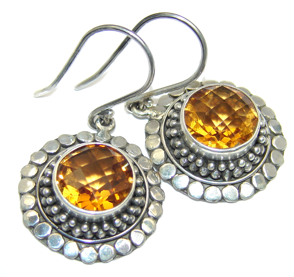 Bali Sunset AAA Yellow Citrine Sterling Silver Earrings