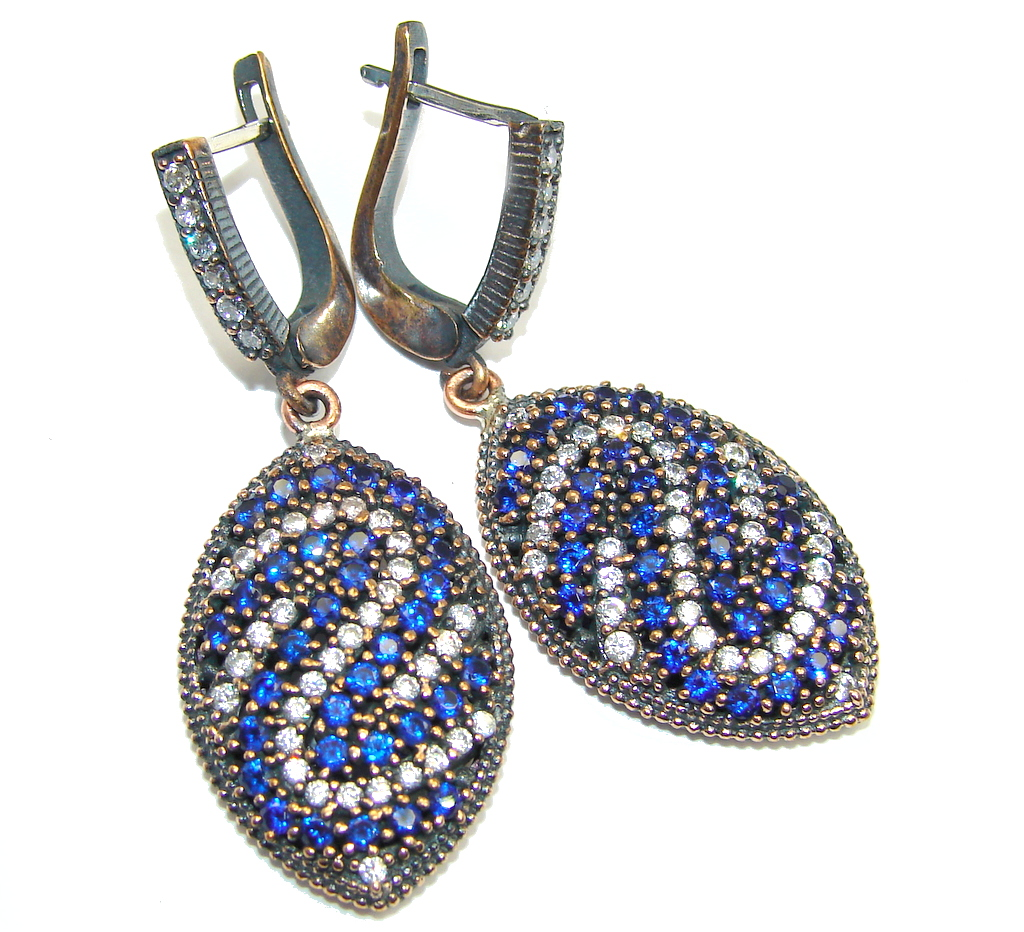 Victorian Style Created Blue Sapphire & Topaz Sterling Silver earrings