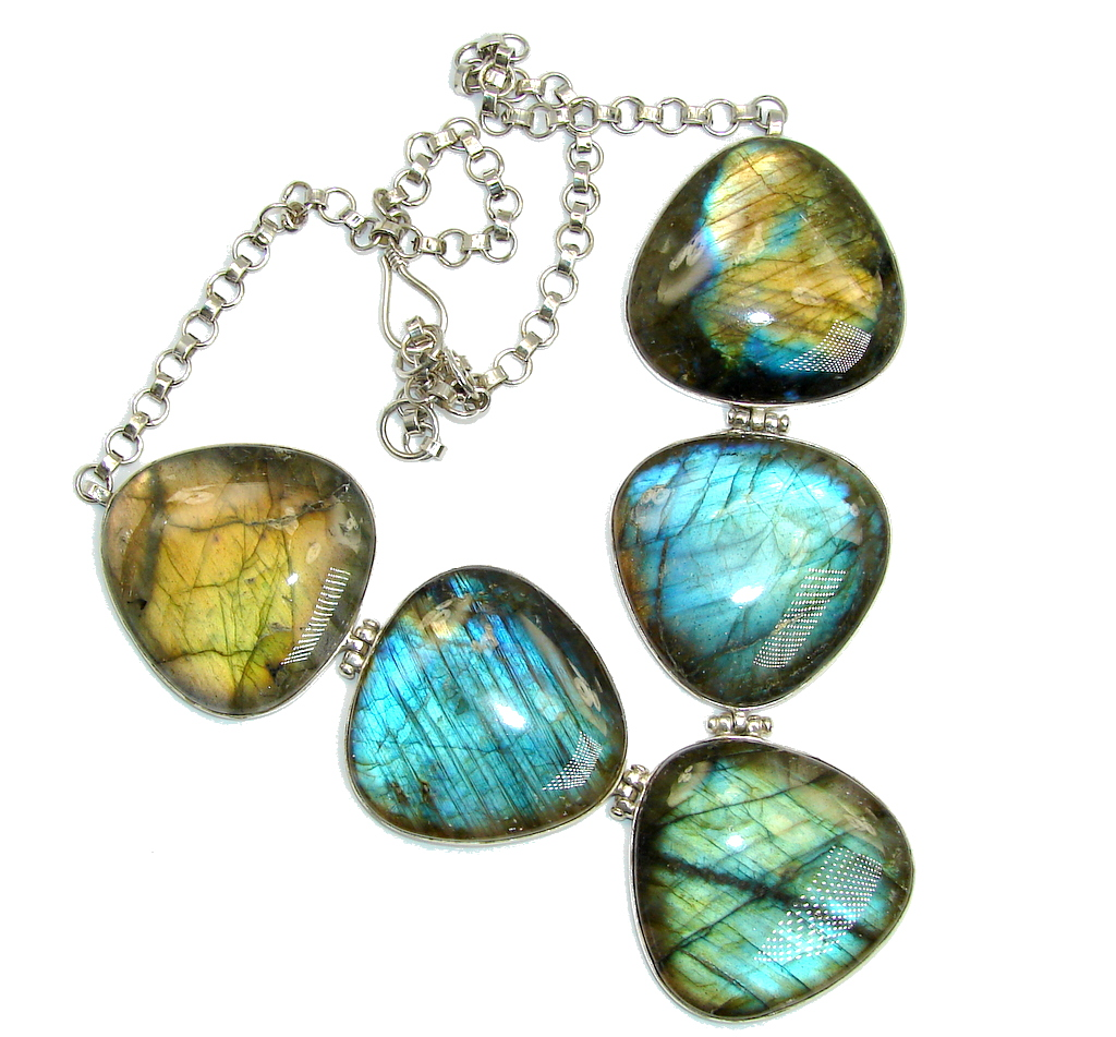 Huge Bold Moon AAA Fire  Labradorite Sterling Silver necklace