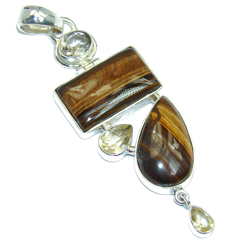 Awesome Golden Tigers Eye Citrine Sterling Silver Pendant