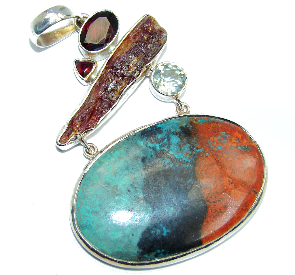 Fantastic AAA Red Sonora Jasper Rough Tourmaline Sterling Silver Pendant