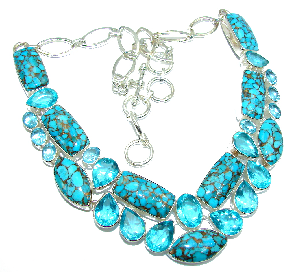 Ocean Blue Beauty AAA Purple Copper vains Turquoise Sterling Silver Necklace