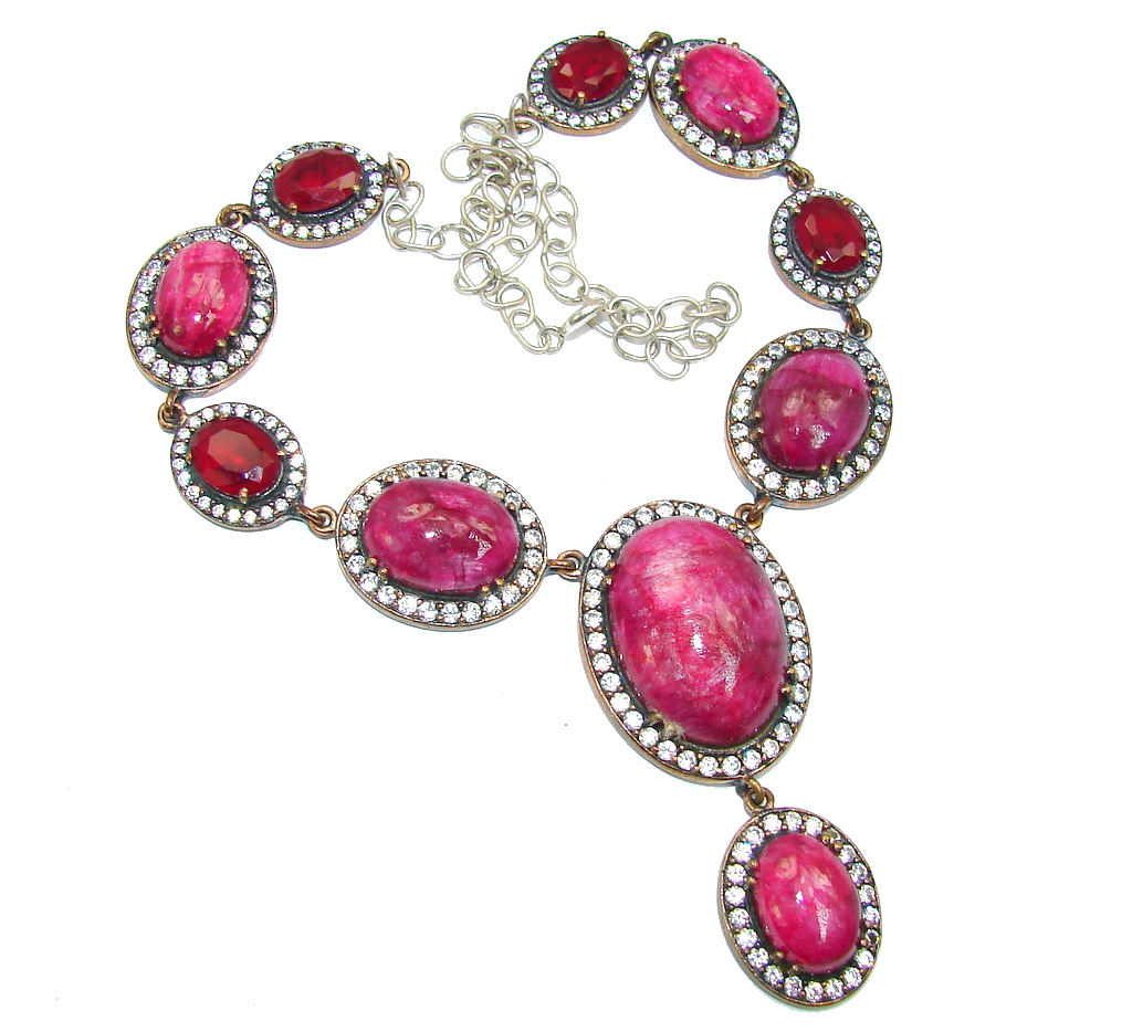 Incredible Victorian Design Red Ruby & White Topaz copper plated Sterling Silver necklace