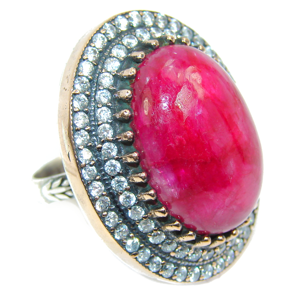 Most Incredible Victorian Style Ruby & White Topaz Sterling Silver ring; s. 9 1/4