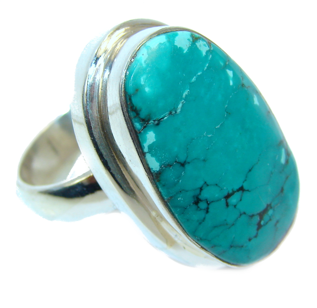 Amazing AAA Genuine Corrico Lake Turquoise Sterling Silver ring s. 7