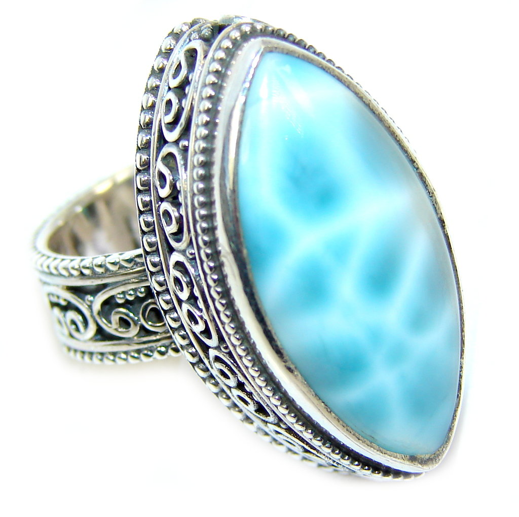 Amazing AAA quality Blue Larimar Oxidized Sterling Silver Ring size 6