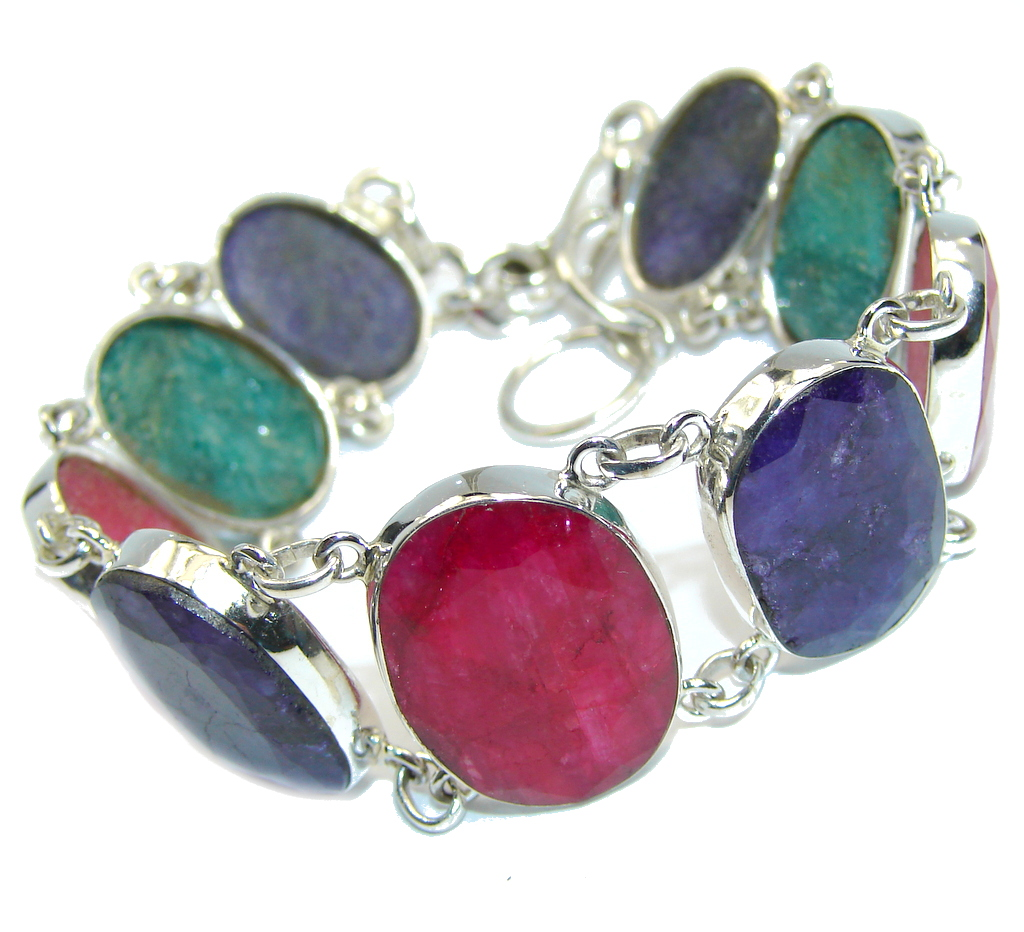 Simple  Beauty Pink Ruby Emerald Sapphire Sterling Silver Bracelet