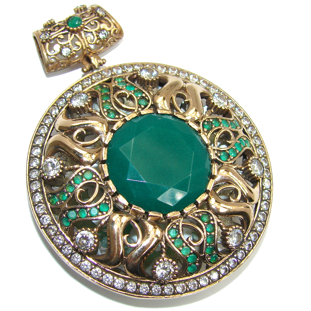 Huge Victorian Style Created Emerald & White Topaz Sterling Silver Pendant
