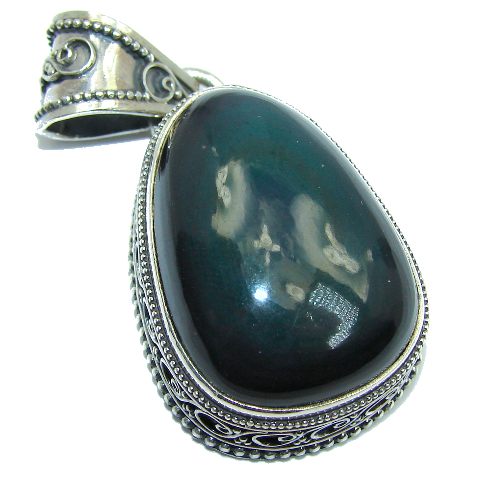 AAA Fancy Black Carts's Eye Sterling Silver pendant