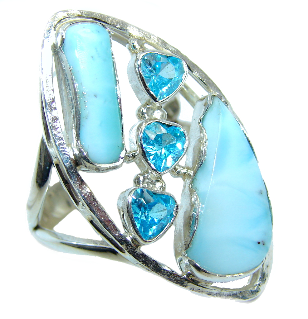 Amazing AAA quality Blue Larimar  Sterling Silver Ring size 9 1/2