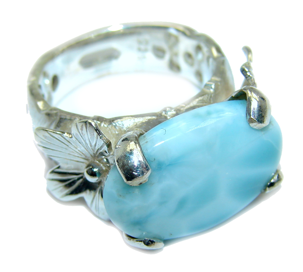 Amazing AAA quality Blue Larimar Oxidized Sterling Silver Ring size 7 1/4