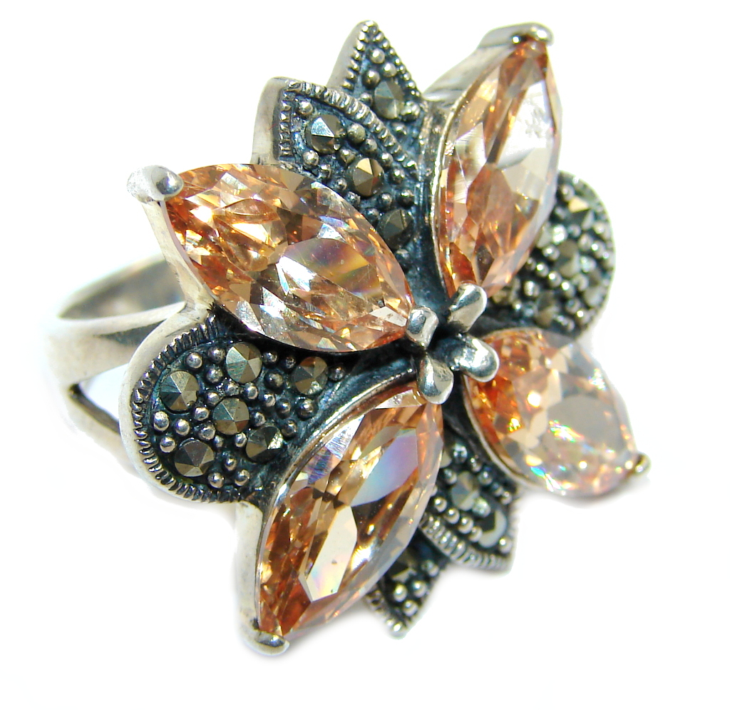marcassite.com Great Beauty Golden Cubic Zirconia Marcasite Sterling Silver ring s. 6