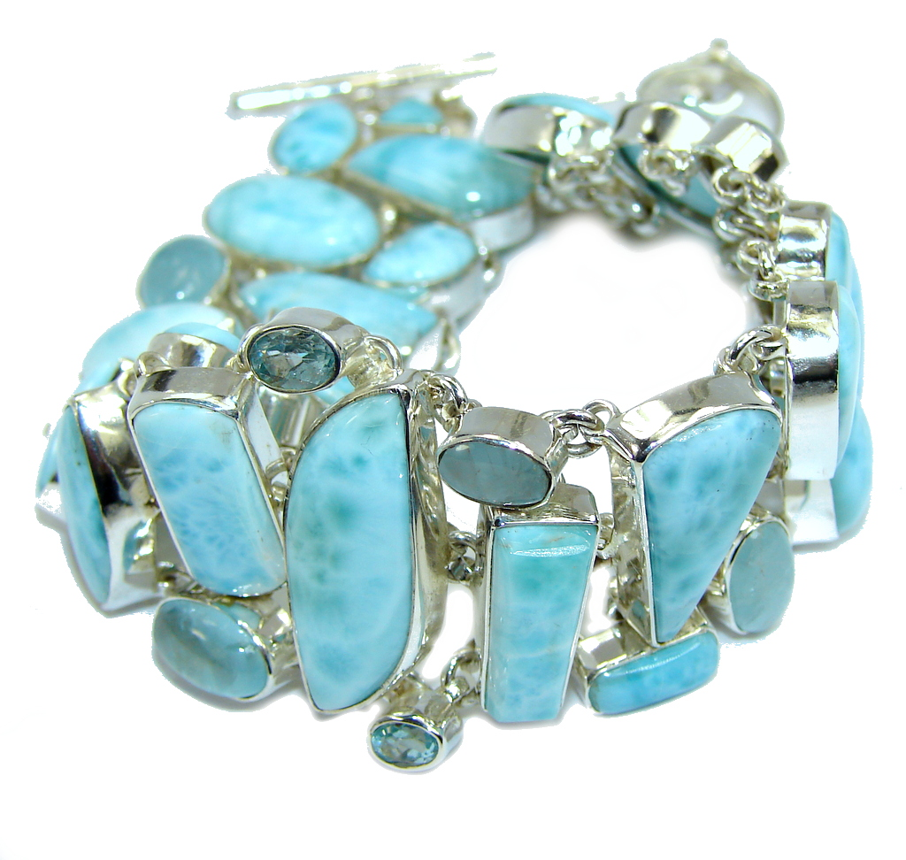 Ocean Beauty AAA Blue Larimar & Swiss Blue Topaz Aquamarine Sterling Silver Bracelet