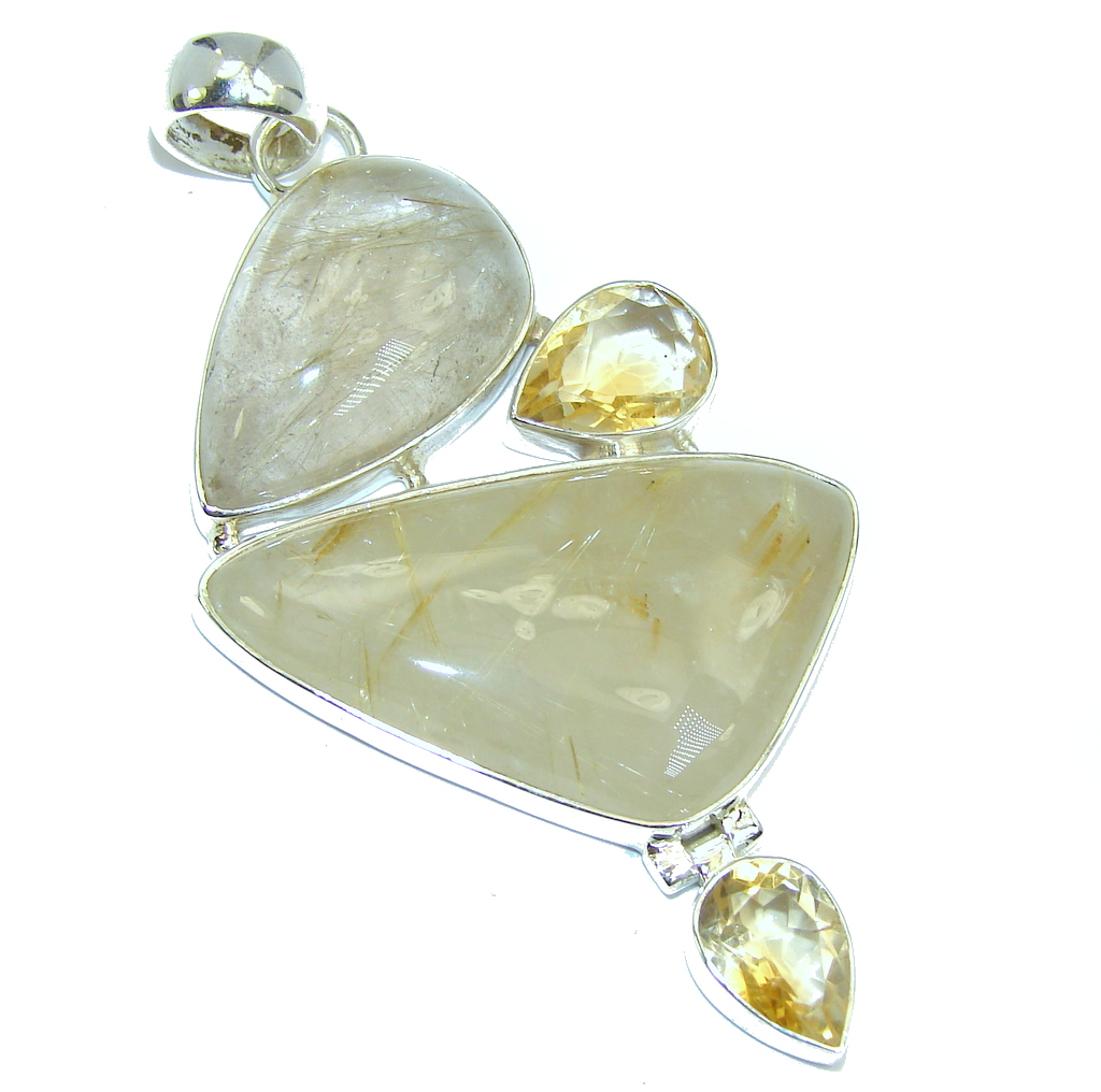 Big Himalayan Golden Rutilated Quartz & Citrine  Sterling Silver Pendant