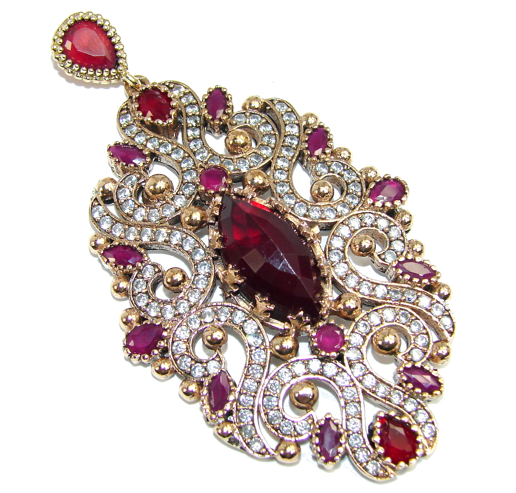 Large Perfect created Pink Ruby & White Topaz Copper over Sterling Silver Pendant