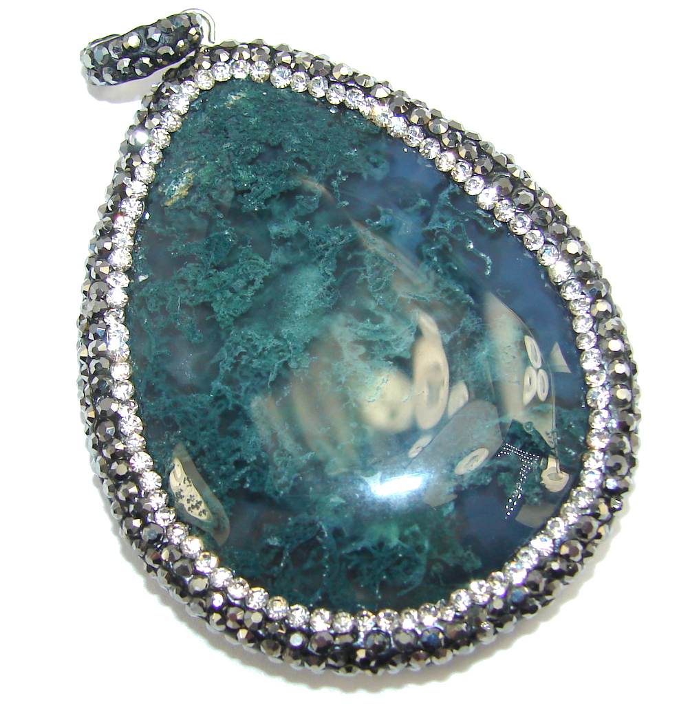 Stunning Green Moss Agate Spinel Sterling Silver Pendant