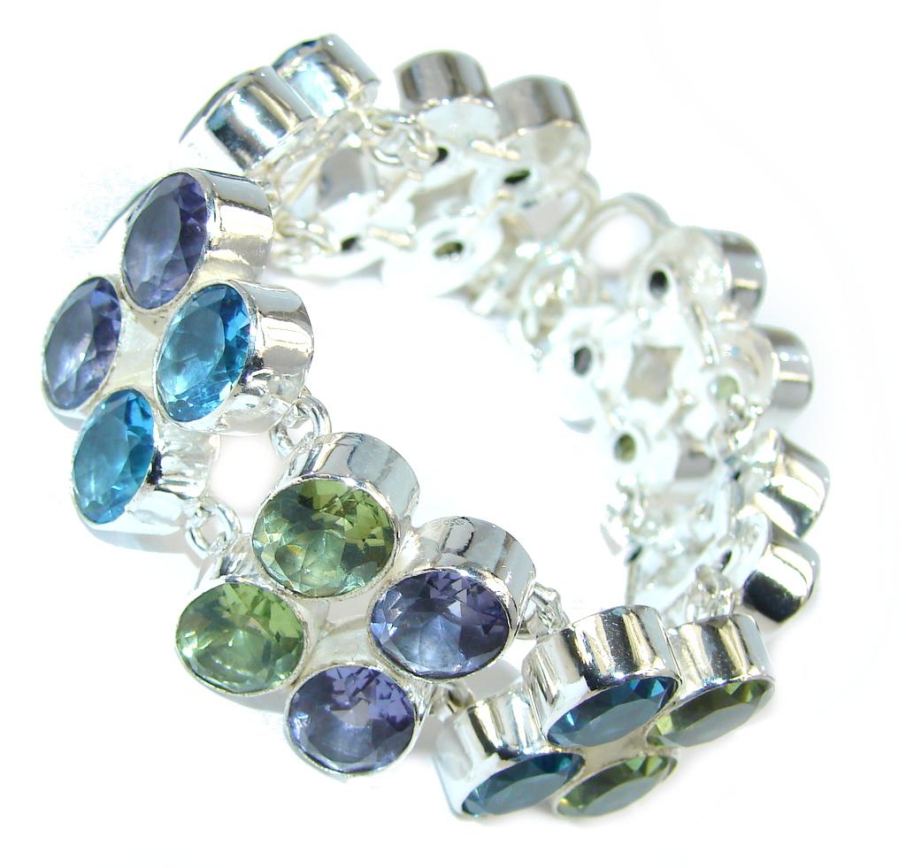 Stunning created Quartz Sterling Silver Bracelet