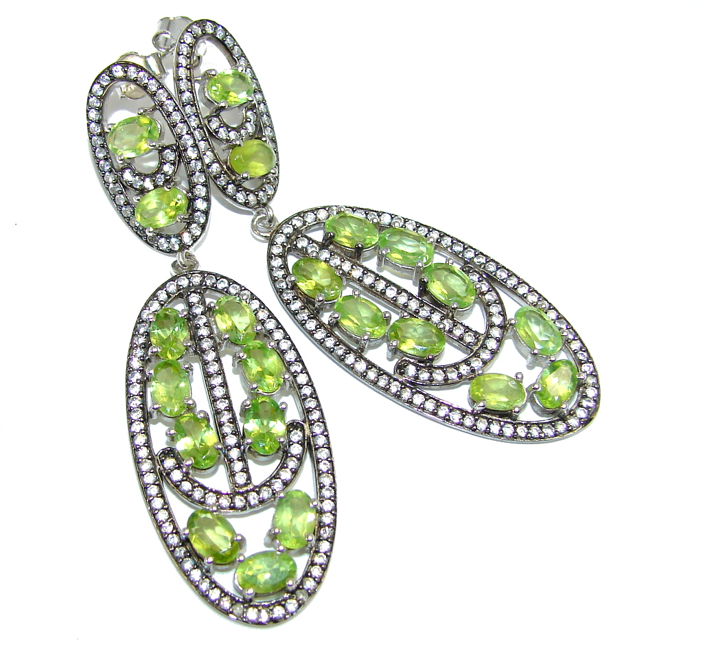 Amazing Floral Design Peridot Rhodium plated over Sterling Silver Earrings