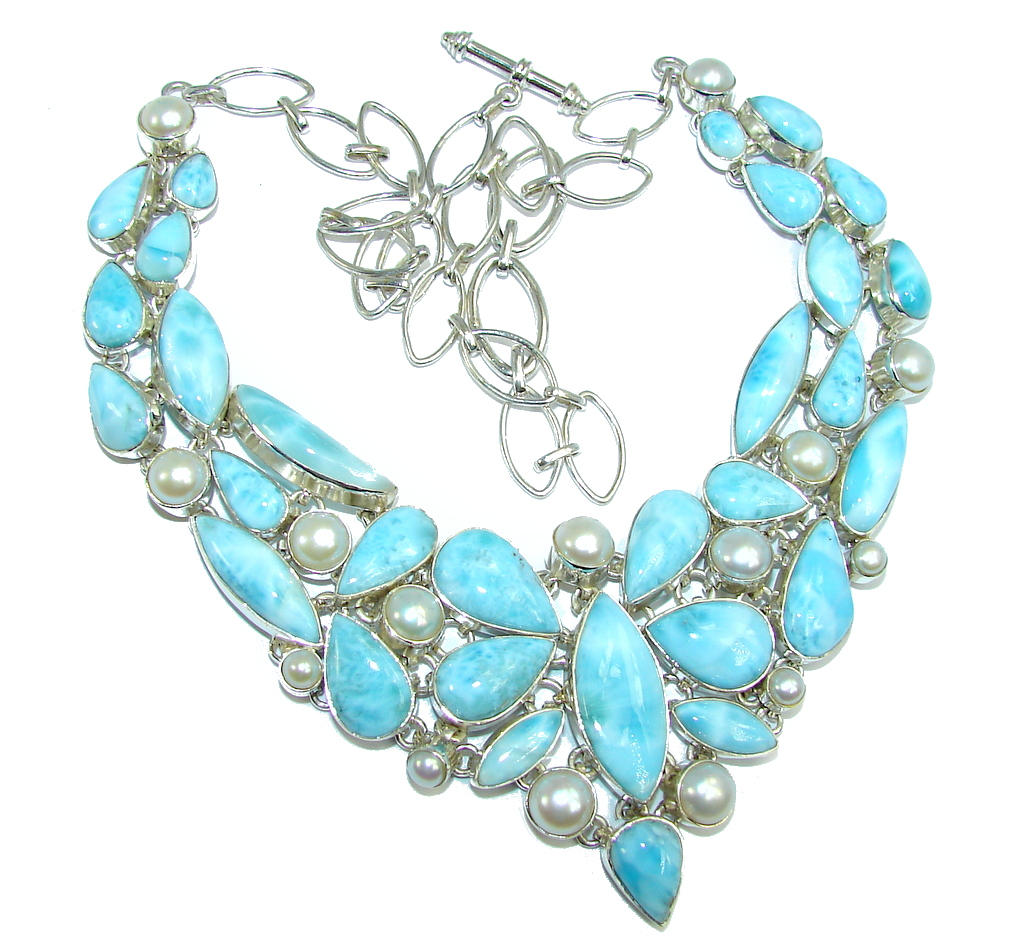 jewelpearl.com view the photo of  Huge Caribbean Style AAA Blue Larimar Pearls Sterling Silver necklace