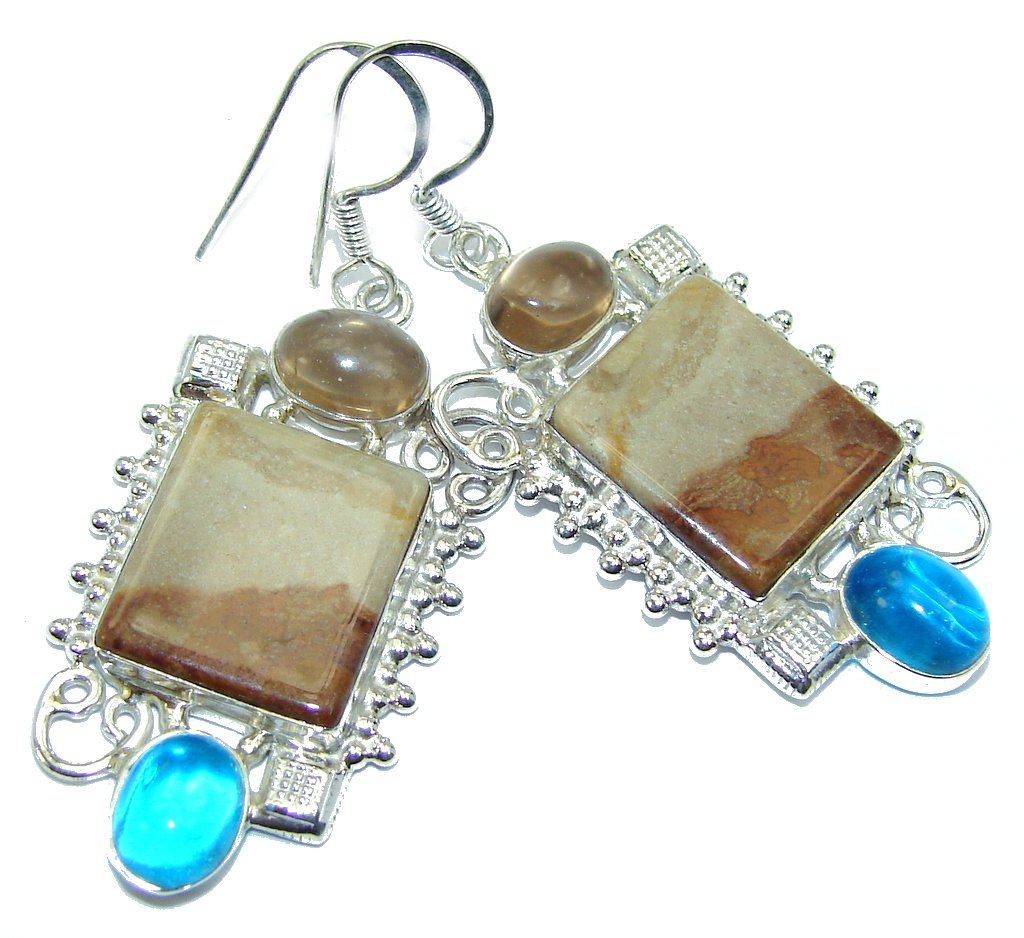 Amazing Picture Jasper Sterling Silver earrings